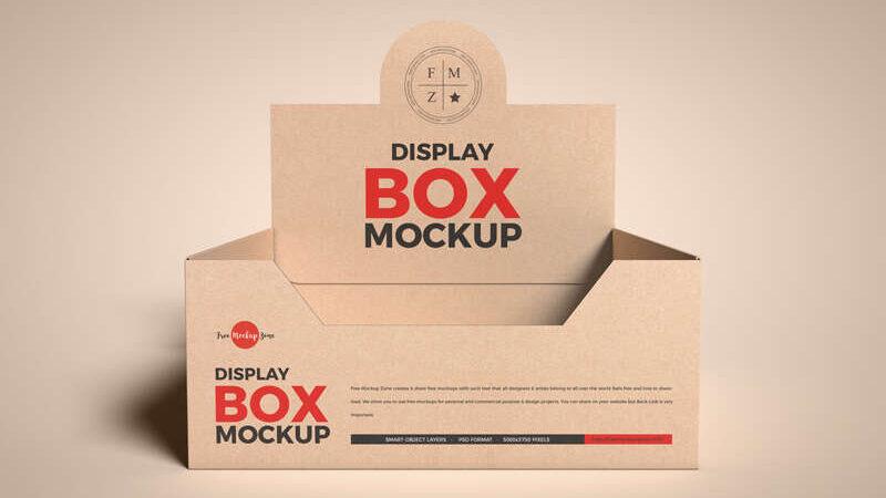 Free Kraft Empty Display Box Mockup