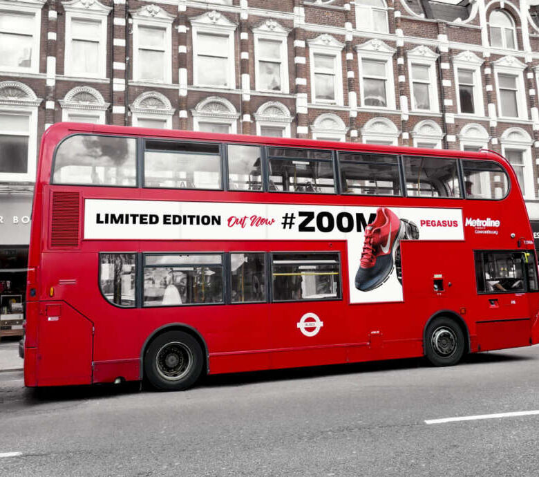 Free London Bus Vehicle Branding Mockup PSD