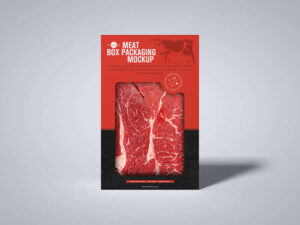 Free Meat Cutout Box Packaging Mockup