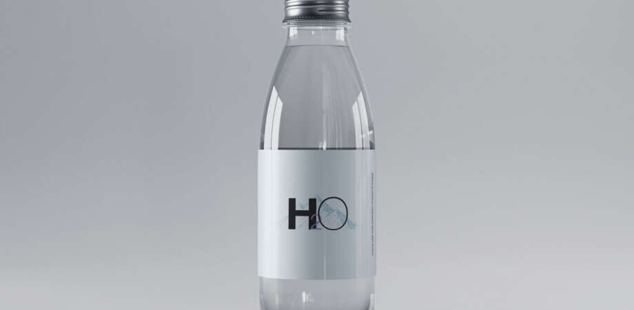 Free Mini Glass Water Bottle Mockup