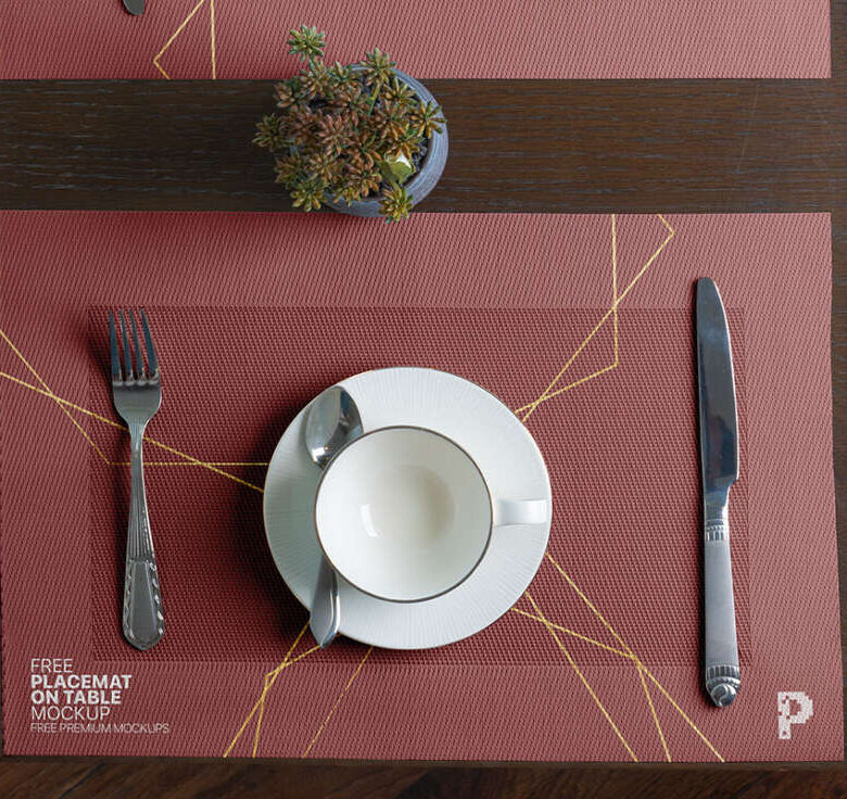 Free Placemat on Table Mockup