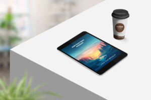 Free Tablet with Coffee Cup Mockup
