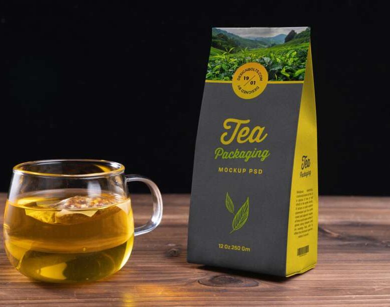 Free Tea Kraft Paper Packaging Mockup PSD