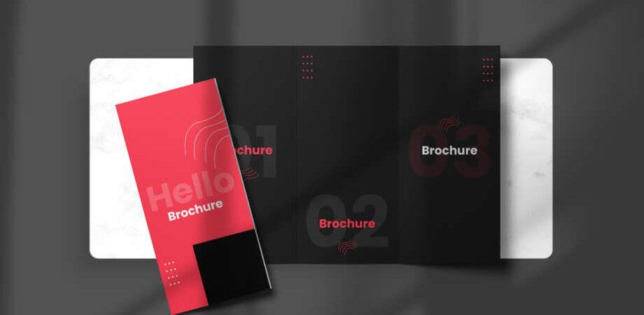 Free Top View Tri-Fold Brochure Mockup