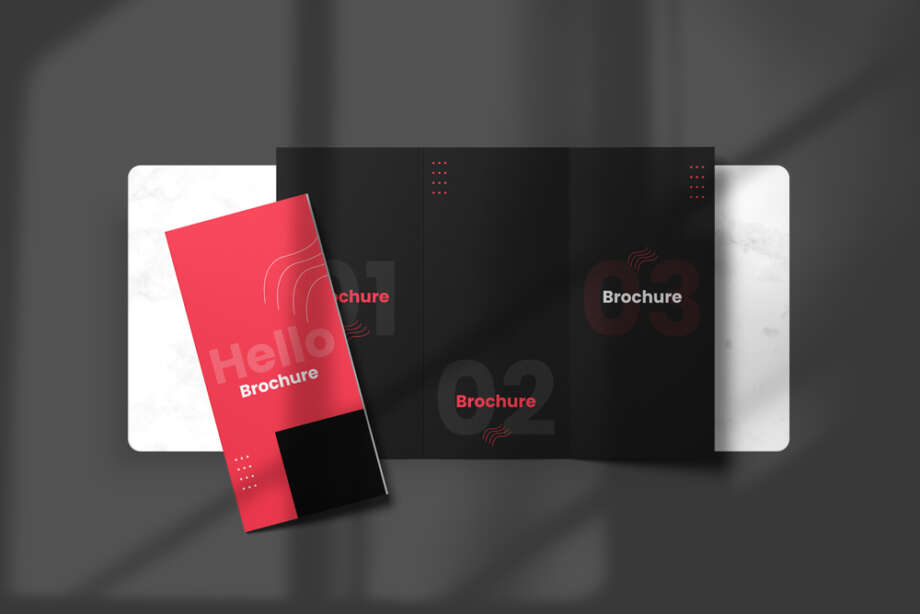 Free Top View Tri-Fold Brochure Mockup