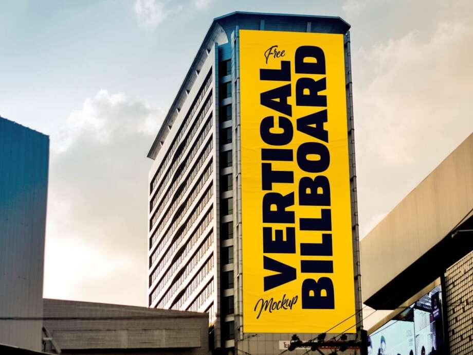 Free Vertical Building Billboard Mockup PSD