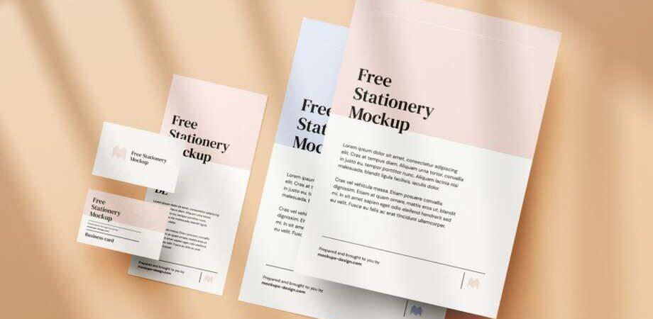 Free simple stationery mockup