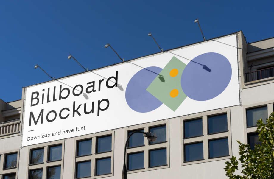 Free Billboard on the Building Mockup