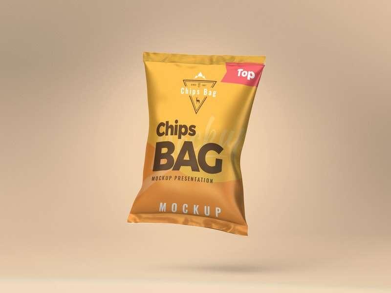 Free Chips Bag PSD Mockup