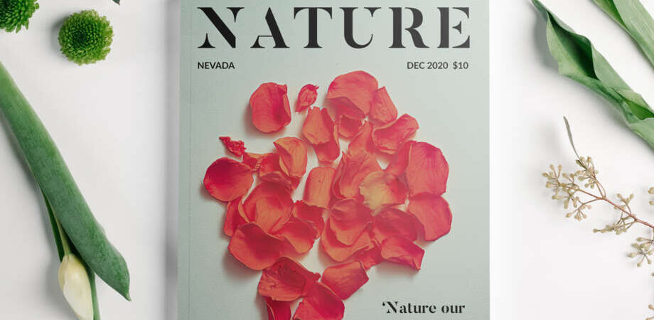 Free Magazine with Flowers Mockup