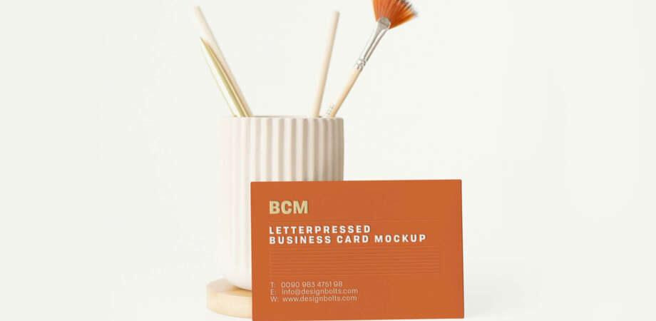 Free Minimalistic Letterpressed Business Card Mockup PSD