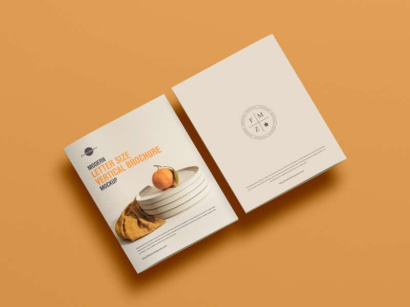 Free Modern Letter Size Vertical Brochure Mockup