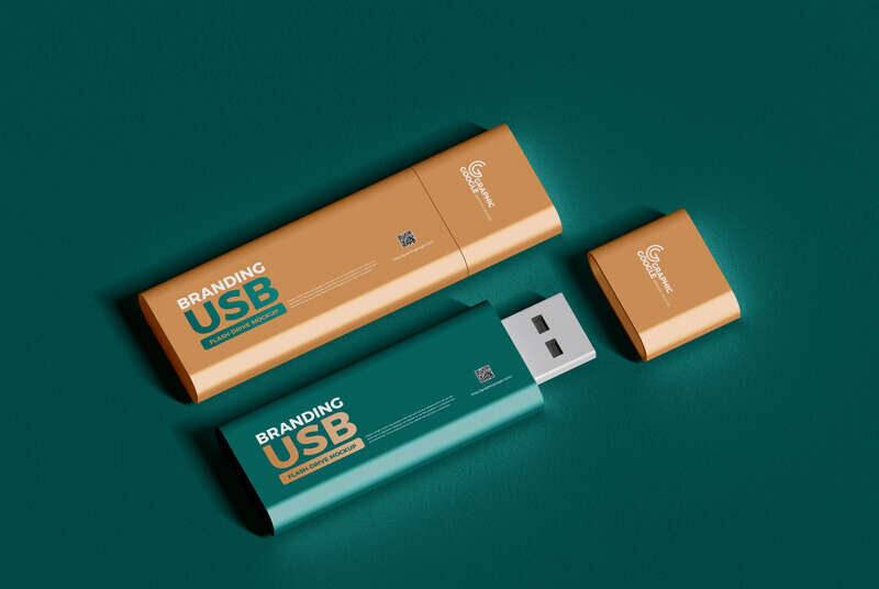 Free PSD Branding USB Flash Drive Mockup