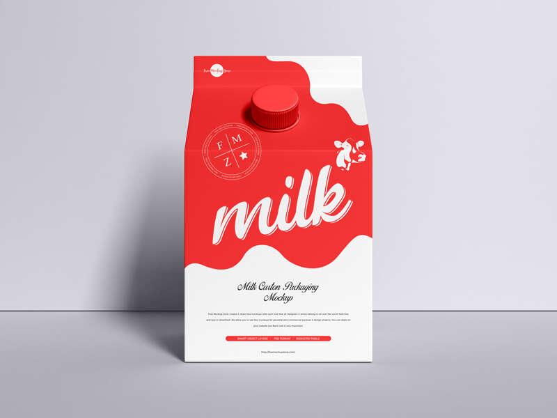 Free PSD Milk Carton Packaging Mockup