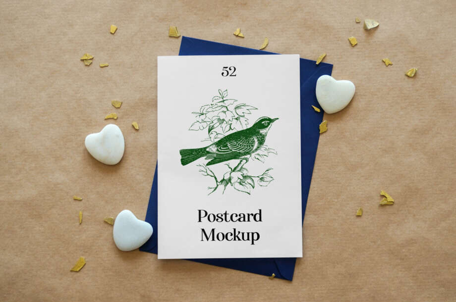 Free Thank You Card with Envelope Mockup
