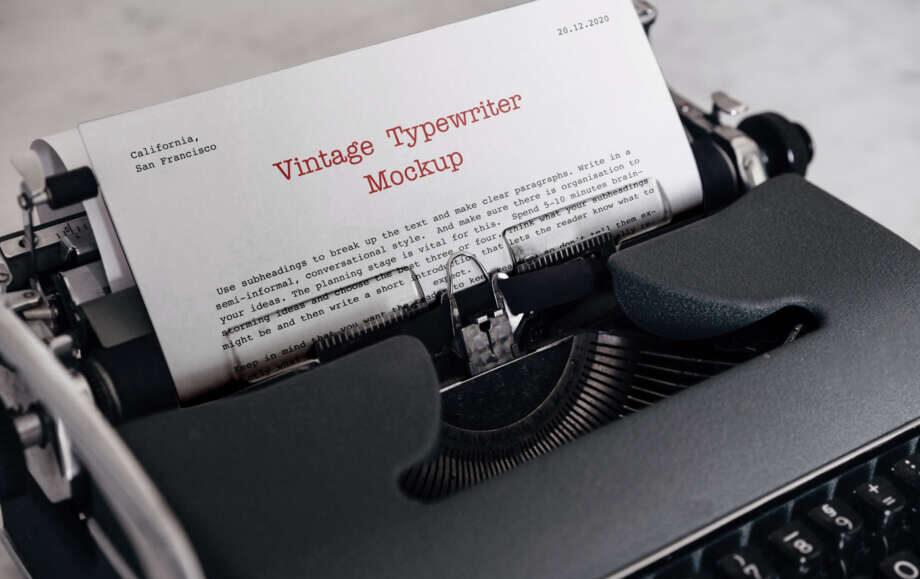 Free Vintage Typewriter Mockup