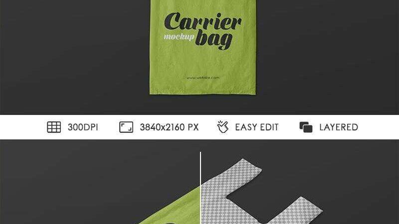 2 Free Plastic Carrier Bag Mockups