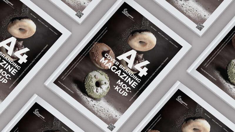 Free A4 Size Cover Branding Magazine Mockup