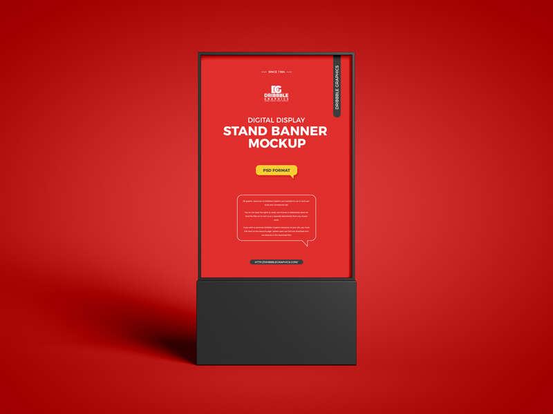 Free Digital Display Stand Banner Mockup