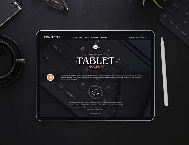Free Elegant Workplace Tablet Mockup