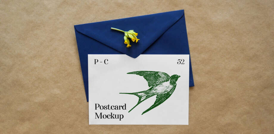 Free Greeting Card with Envelope Mockup