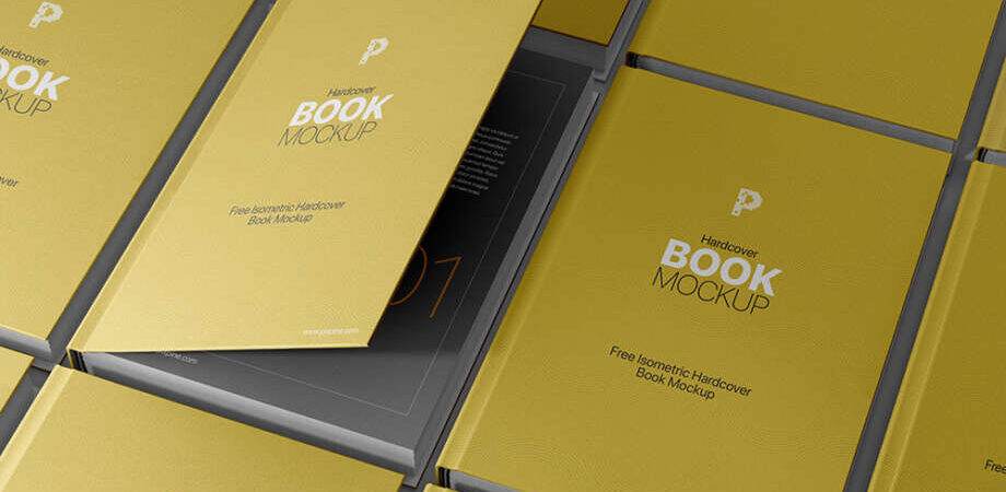 Free Isometric Hardcover Book Mockup