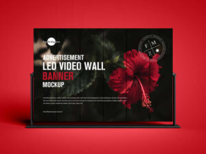 Free LED Video Wall Banner Mockup