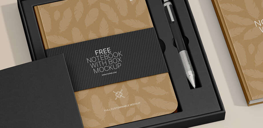 Free Notebook with Box Mockup