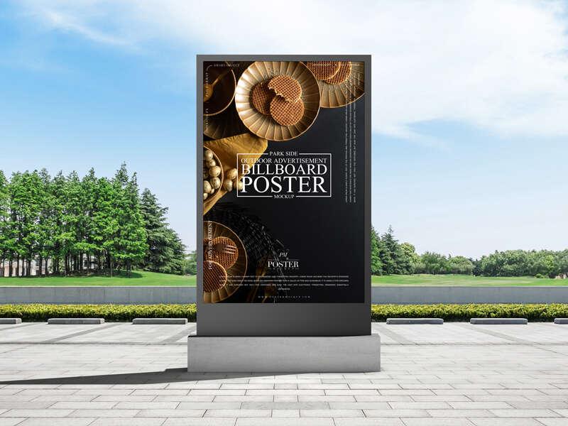 Free Park Side Outdoor Advertisement Billboard Poster Mockup