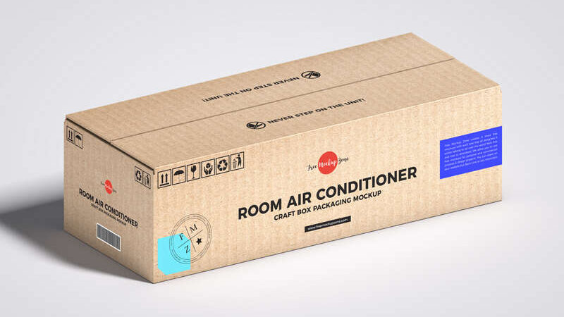 Free Room Air Conditioner Craft Box Packaging Mockup