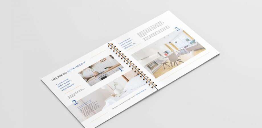 Free square binded brochure mockup