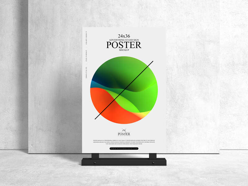 Free Advertising Stand 24×36 Sign Poster Mockup