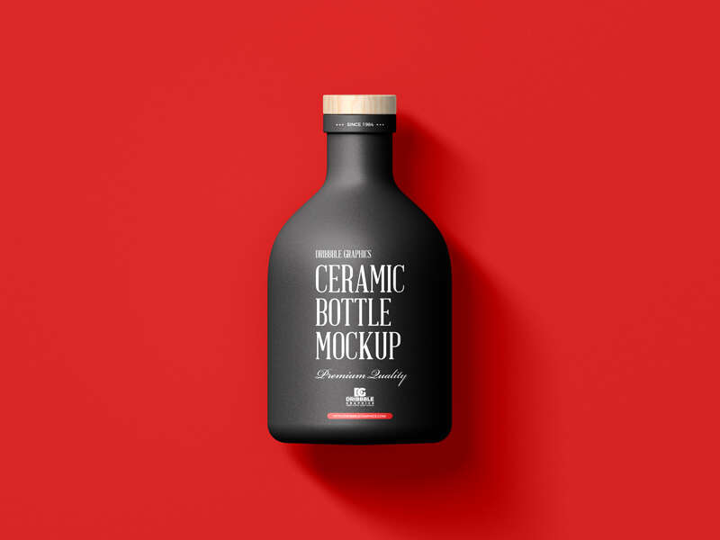 Free Ceramic Bottle with Wooden Cap Mockup