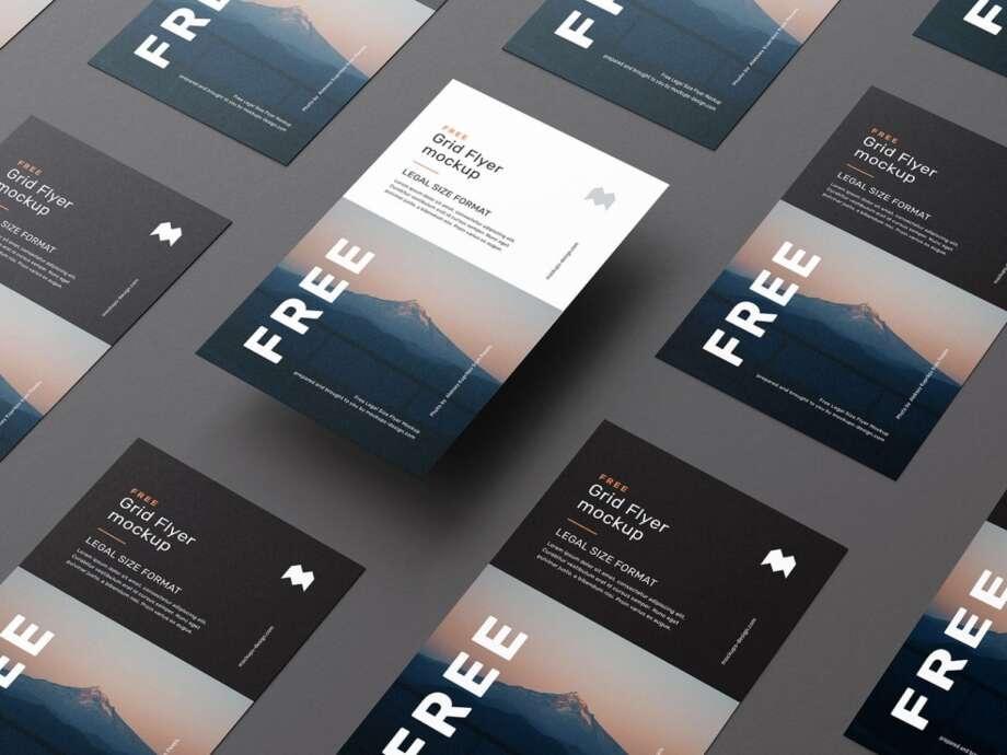 Free legal size flyer grid mockup