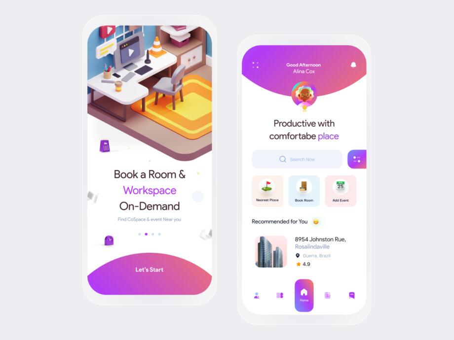 Free CoSpace Booking App UI Kit