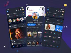 Free Facebook Redesign Dark Mode UI Kit