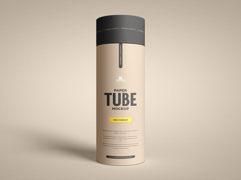 Free Long Paper Tube Mockup