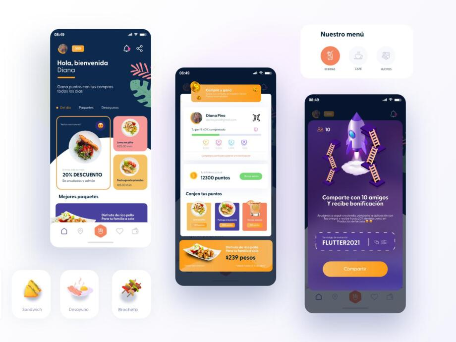 Free Restaurant Reward APP UI Kits