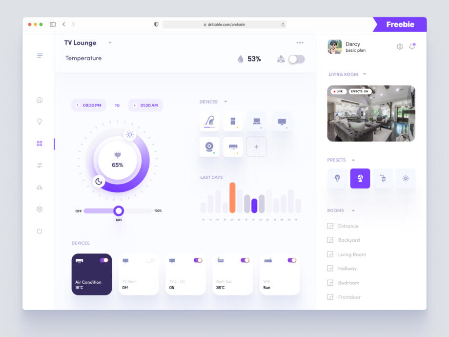 Free Smart Home Dashboard UI Concept
