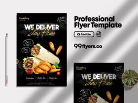 Download Home Delivery Food Flyer PSD Template for FREE.