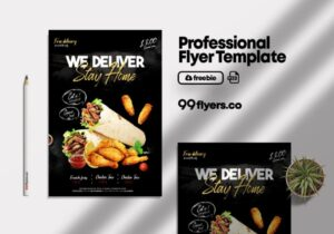 Free Home Delivery Food Flyer PSD Template