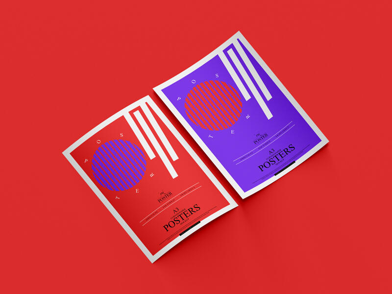 Free A3 Curved Paper Posters Mockup For Branding