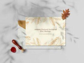 Free Aesthetic Autumn Postcard Invitation Mockup PSD
