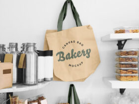 Free Aesthetic Blank Tote Canvas Bag Mockup PSD