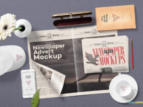 Free Aesthetic Newspaper Mockup PSD