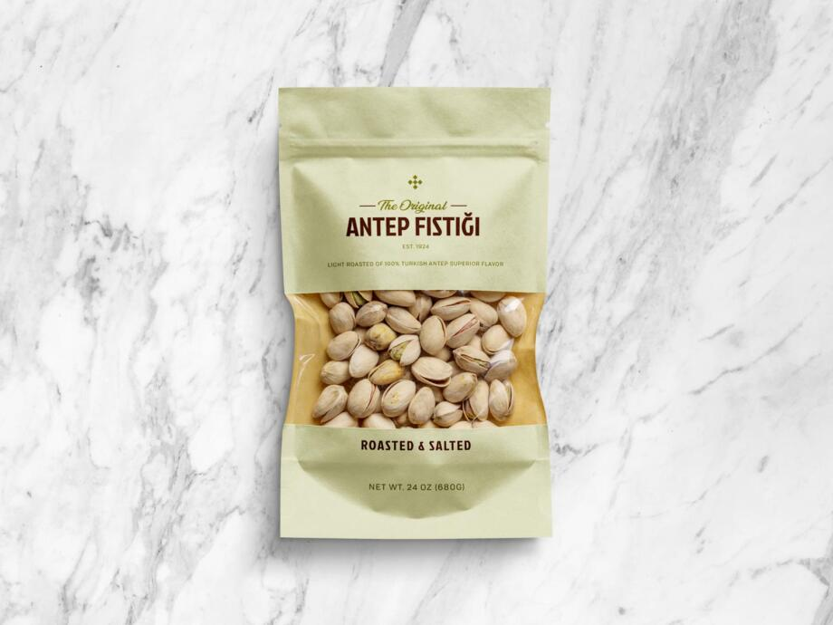 Free Aesthetic Pistachio Window Pouch Packaging Mockup PSD