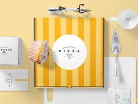 Free Aesthetic Pizza Packaging Mockup Scene