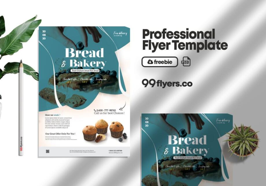 Free Bakery & Cupcake Flyer PSD Template