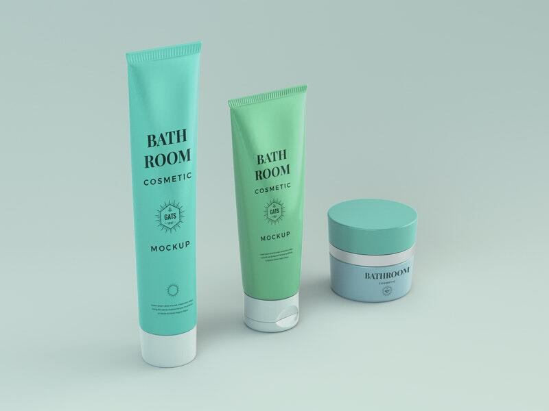 Free Bathroom Cosmetic Mockup
