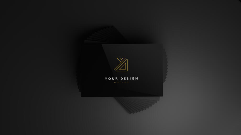 Free Black Business Cards Mockup